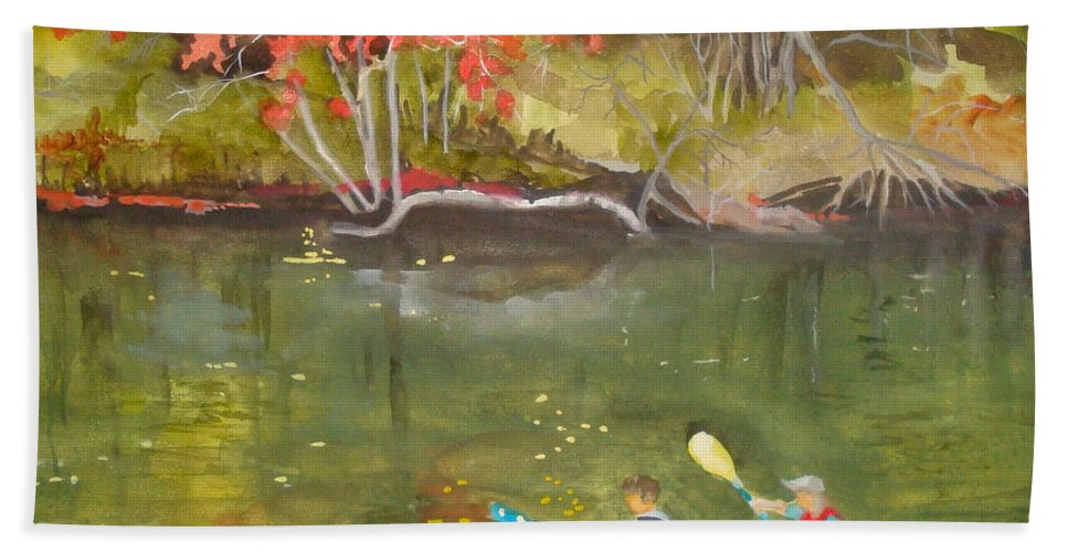 Water Hand Towel featuring the painting Augusta Canal Number Two by Jean Blackmer