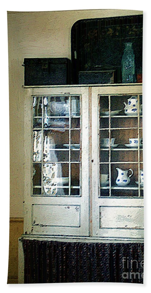 Room Hand Towel featuring the painting Aunt Mae's China Closet by RC deWinter