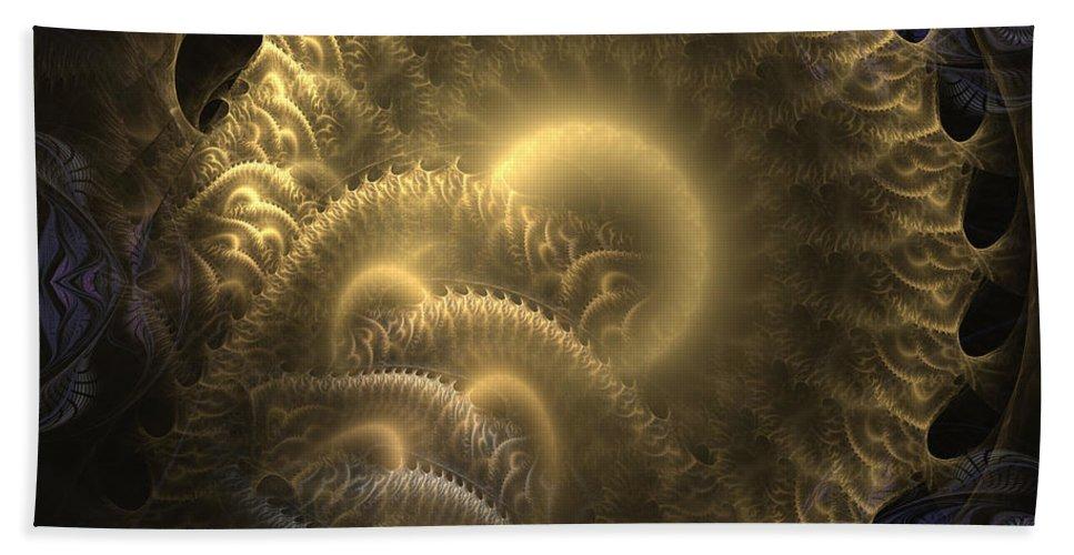 Abstract Bath Sheet featuring the digital art Aureate-2 by Casey Kotas