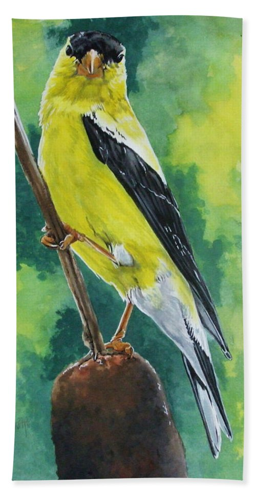 Common Bird Hand Towel featuring the painting Aureate by Barbara Keith
