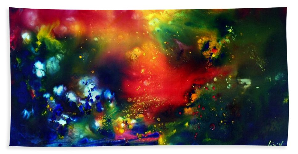 Abstract Hand Towel featuring the painting Aurora Borealis by Luiza Vizoli
