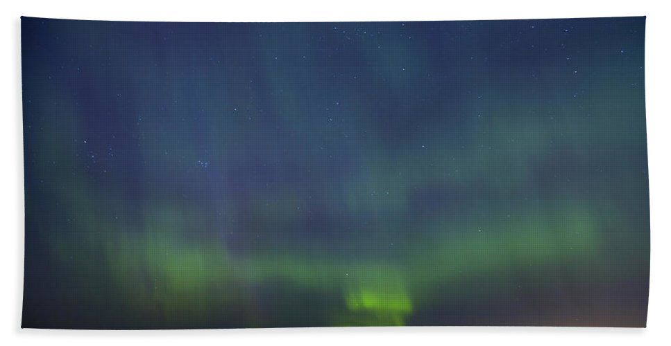 Astronomy Bath Sheet featuring the photograph Aurora Borealis Northern Lights In North Europe by Sandra Rugina