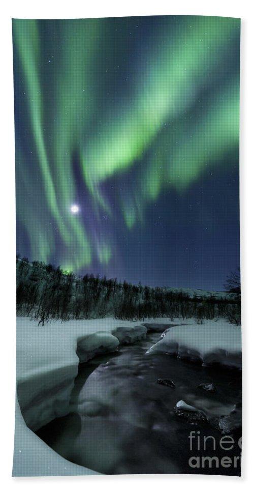 Aurora Borealis Bath Towel featuring the photograph Aurora Borealis Over Blafjellelva River by Arild Heitmann