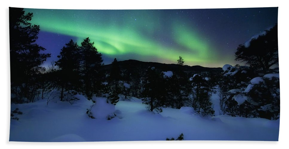 Aurora Borealis Bath Towel featuring the photograph Aurora Borealis Over Forramarka Woods by Arild Heitmann