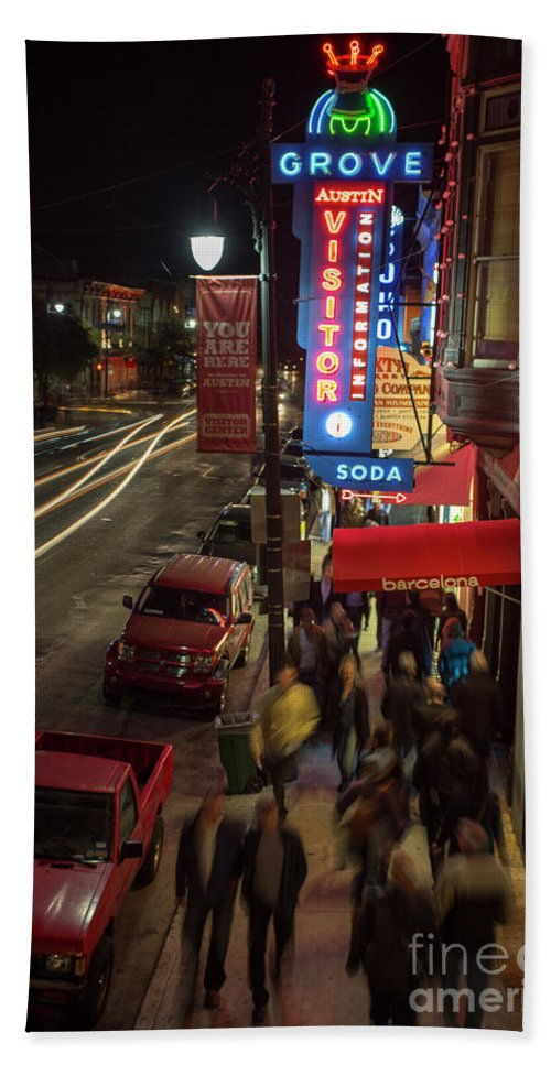 Grove Pharmacy Neon Sign Hand Towel featuring the photograph Austin Fan Fest A Success As F1 Race Enthusiasts Pack 6th Street by Herronstock Prints
