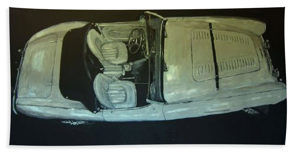 Car Hand Towel featuring the painting Austin Healy Lm by Richard Le Page