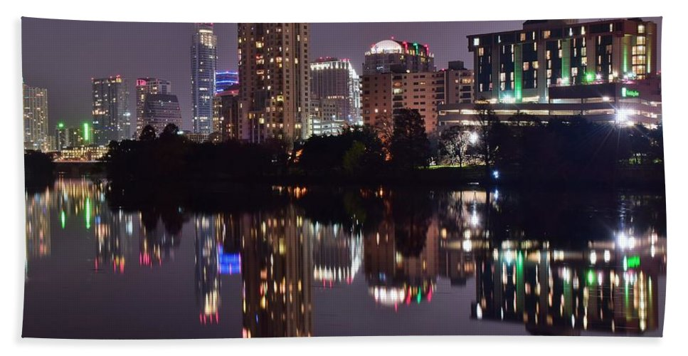 Austin Hand Towel featuring the photograph Austin Lights Up Lady Bird Lake by Frozen in Time Fine Art Photography