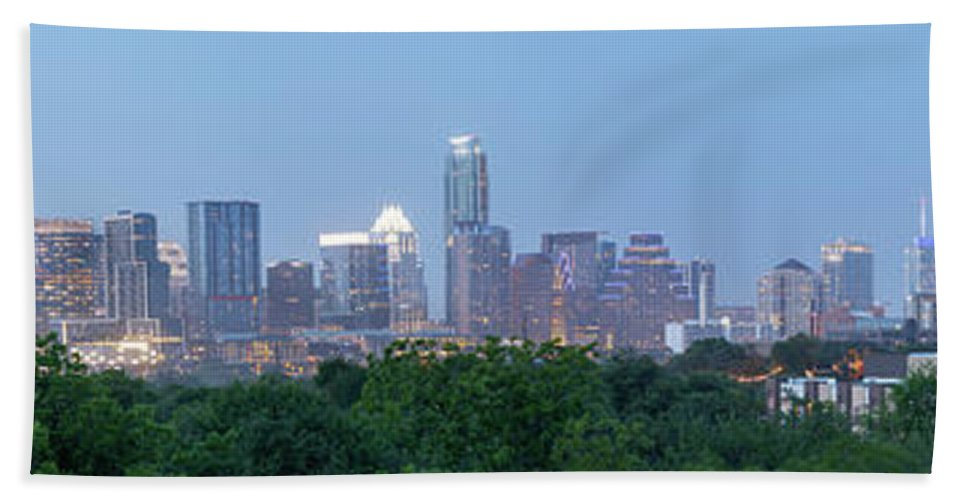 Austin Bath Towel featuring the photograph Austin Texas Building Skyline After The The Lights Are On by PorqueNo Studios
