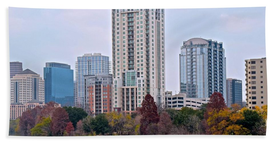 Austin Hand Towel featuring the photograph Austin Tower by Frozen in Time Fine Art Photography