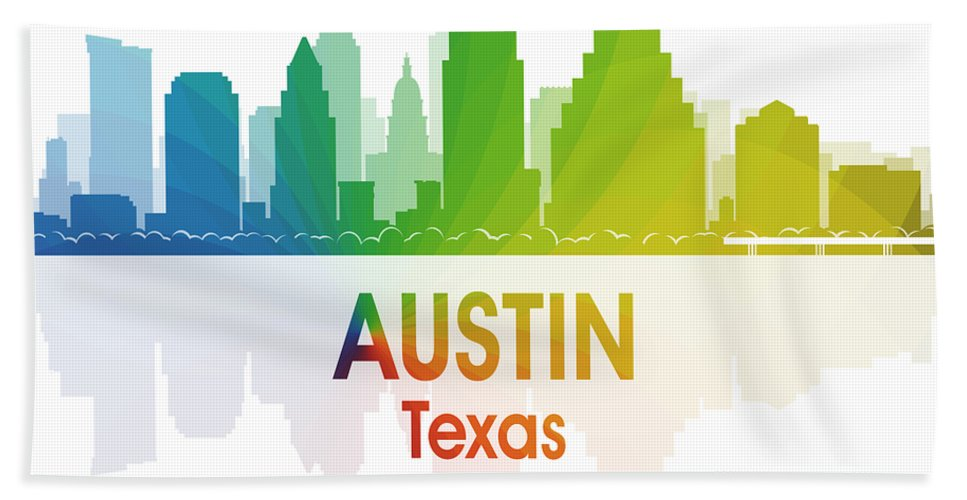 City Silhouette Hand Towel featuring the digital art Austin Tx by Angelina Vick