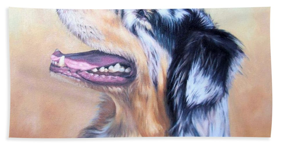 Dog Bath Sheet featuring the painting Australian Shepherd Dog by Nicole Zeug