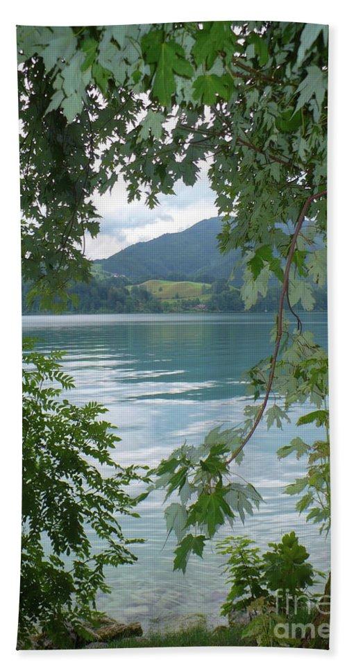 Austria Bath Towel featuring the photograph Austrian Lake Through The Trees by Carol Groenen