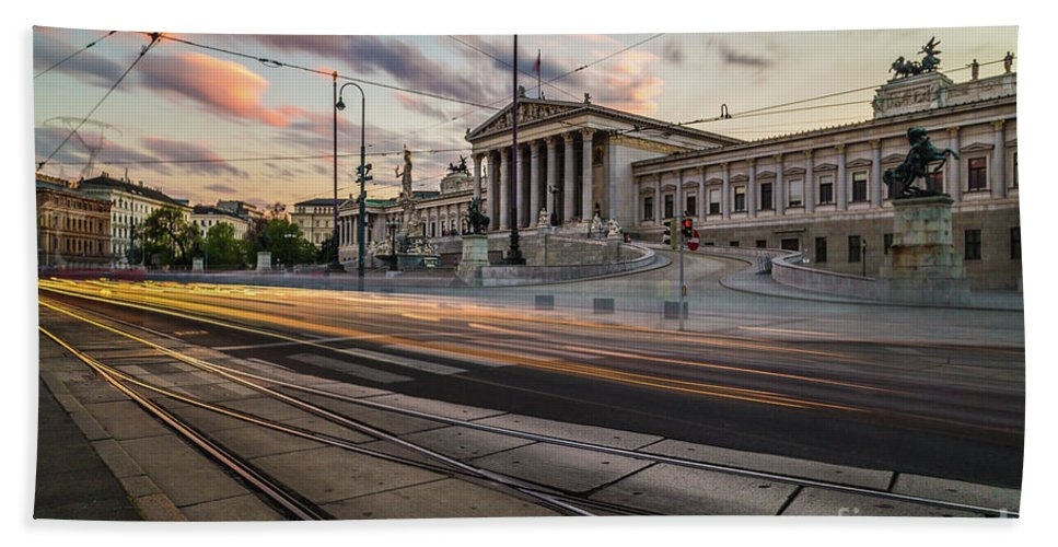 Cloud Bath Sheet featuring the photograph Austrian Parliament In Vienna by Travel and Destinations - By Mike Clegg