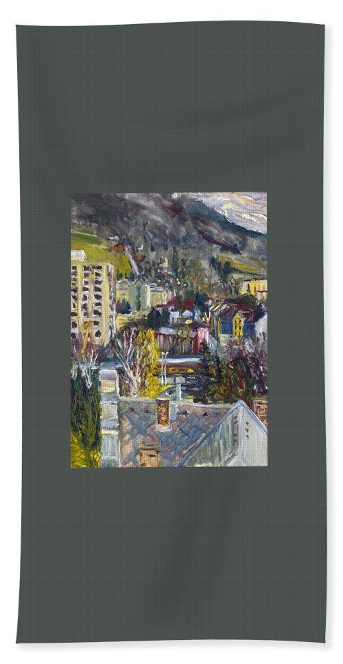 Landscape Hand Towel featuring the painting Auta A Vlak-cviceni Okamziku by Pablo de Choros