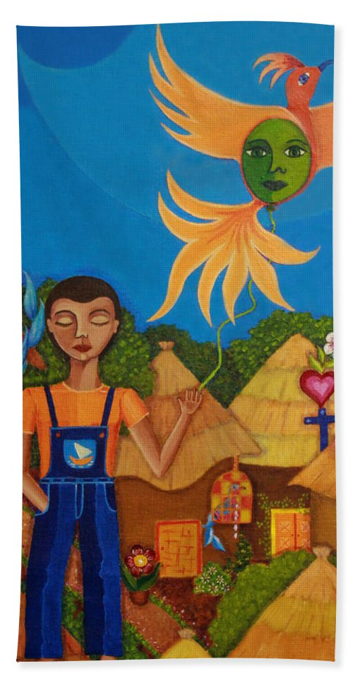 Autism Hand Towel featuring the painting Autism - A Flight To... by Madalena Lobao-Tello