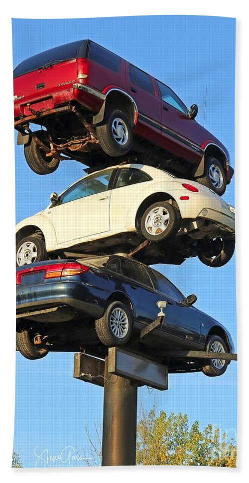 Car Bath Towel featuring the photograph Auto Pile Up by Steve Gass