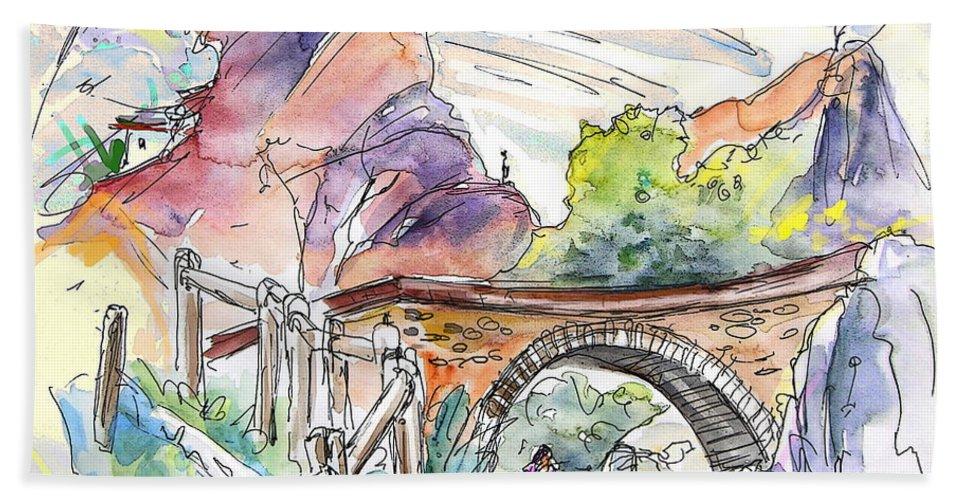 Arnedillo Bath Sheet featuring the painting Autol In La Rioja Spain 02 by Miki De Goodaboom