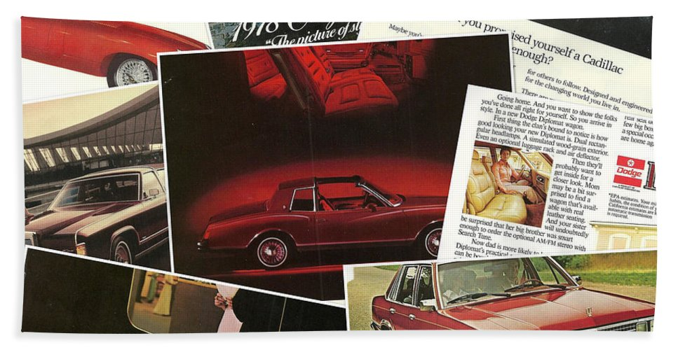 Automotive Hand Towel featuring the photograph Automotive Ad's Collage 2 by John Schneider