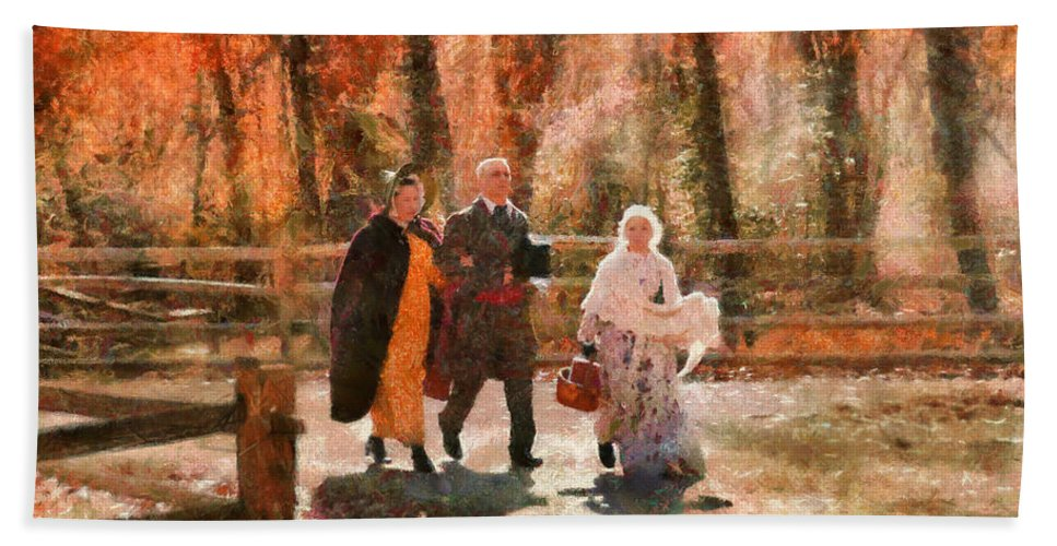 Savad Bath Sheet featuring the photograph Autumn - People - A Walk In The Countryside by Mike Savad