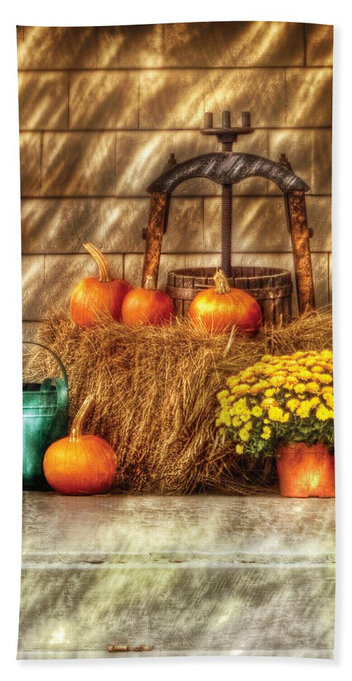 Savad Bath Sheet featuring the photograph Autumn - Pumpkin - A Still Life With Pumpkins by Mike Savad