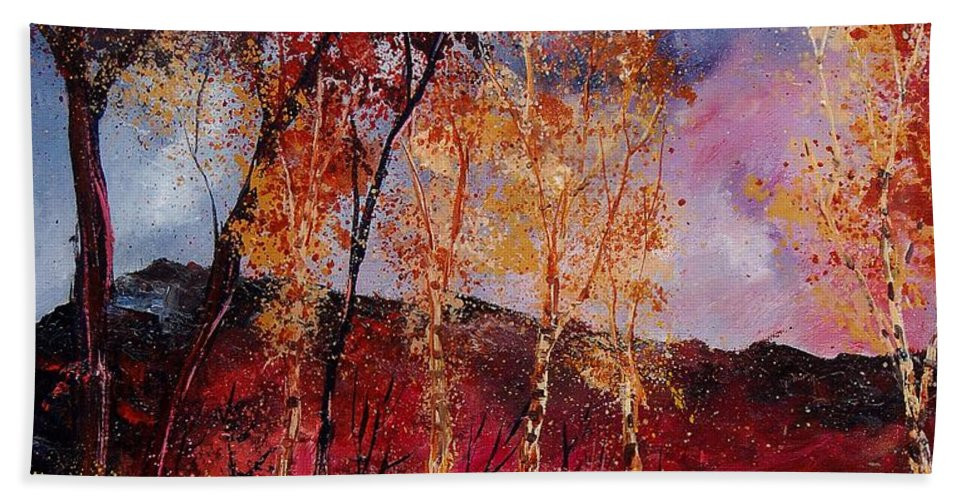 Tree Hand Towel featuring the painting Autumn 6712545 by Pol Ledent