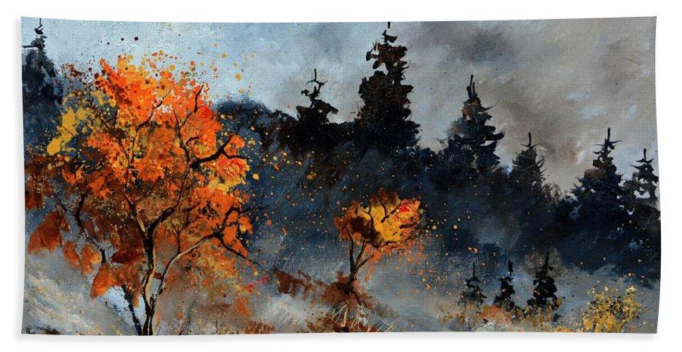Landscape Autumn Bath Towel featuring the painting Autumn 67510123 by Pol Ledent
