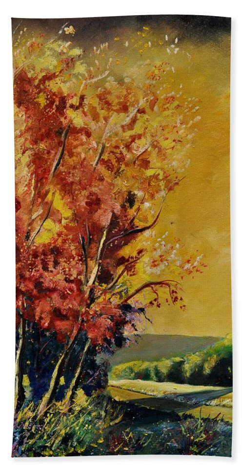 Landscape Bath Sheet featuring the painting Autumn 68 by Pol Ledent