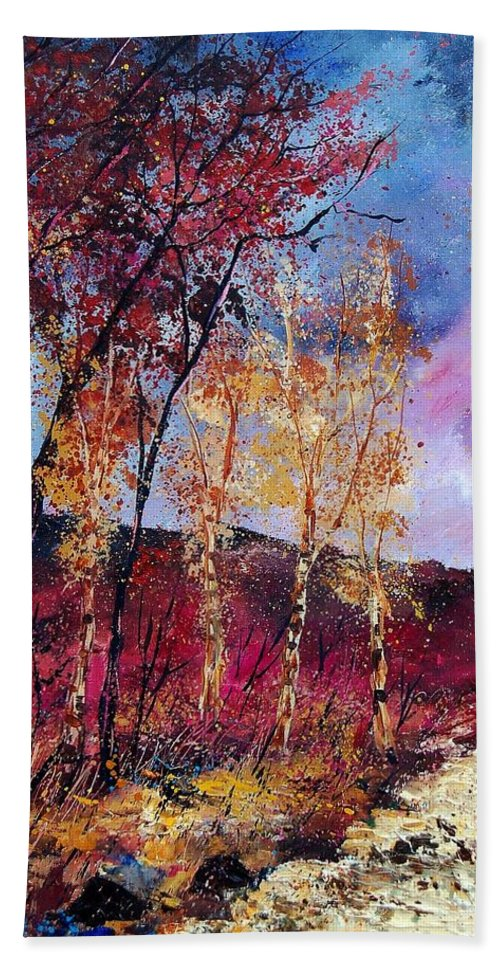 Landscape Hand Towel featuring the painting Autumn 760808 by Pol Ledent