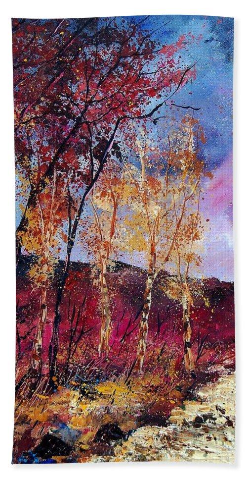 Landscape Bath Sheet featuring the painting Autumn 760808 by Pol Ledent