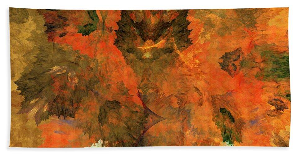 Fine Art Digital Art Hand Towel featuring the digital art Autumn Abstract 103101 by David Lane