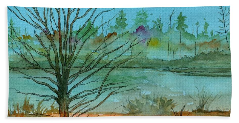 Watercolor Bath Sheet featuring the painting Autumn Afternoon by Brenda Owen