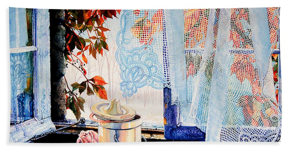Autumn Aromas Hand Towel featuring the painting Autumn Aromas by Hanne Lore Koehler