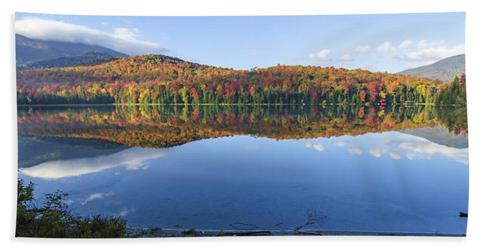 Adirondack Photo Hand Towel featuring the photograph Autumn At Heart Lake by Tony Beaver
