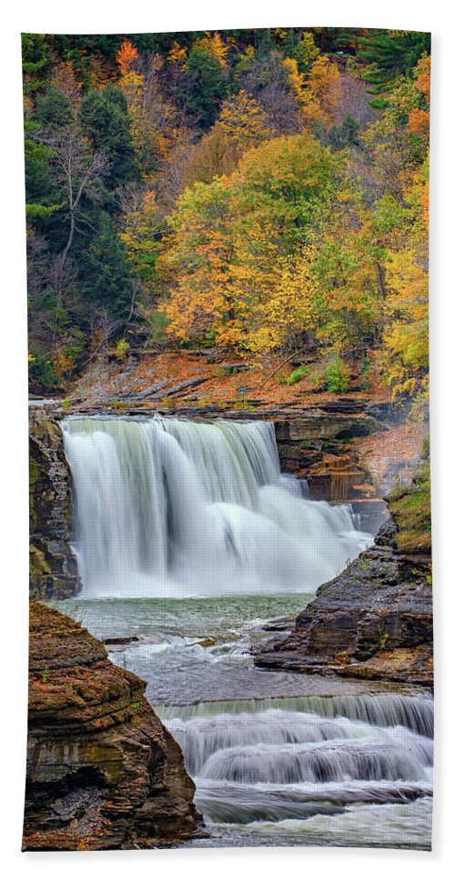 Autumn Hand Towel featuring the photograph Autumn At The Lower Falls by Rick Berk
