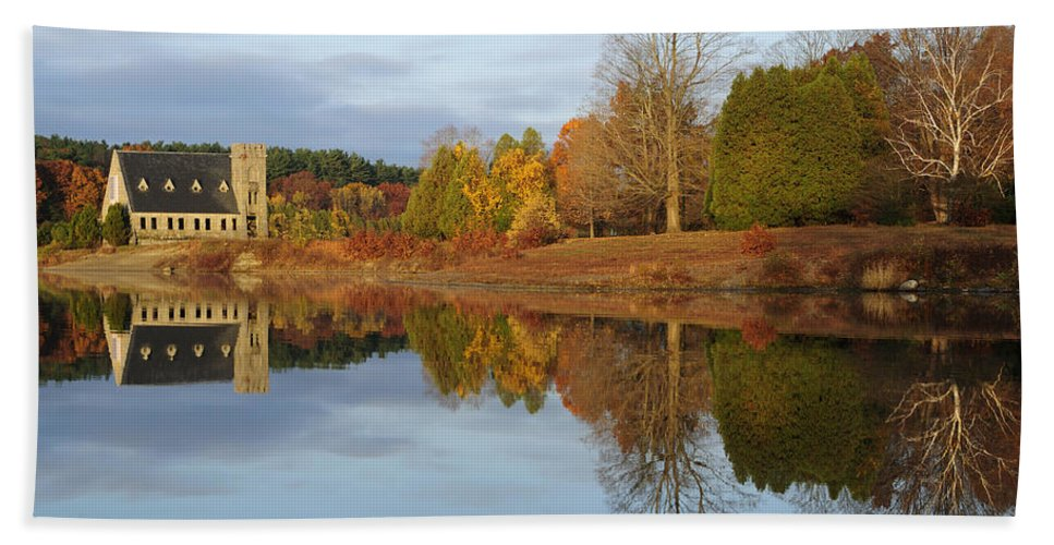 Autumn Hand Towel featuring the photograph Autumn At The Old Stone Church by Luke Moore