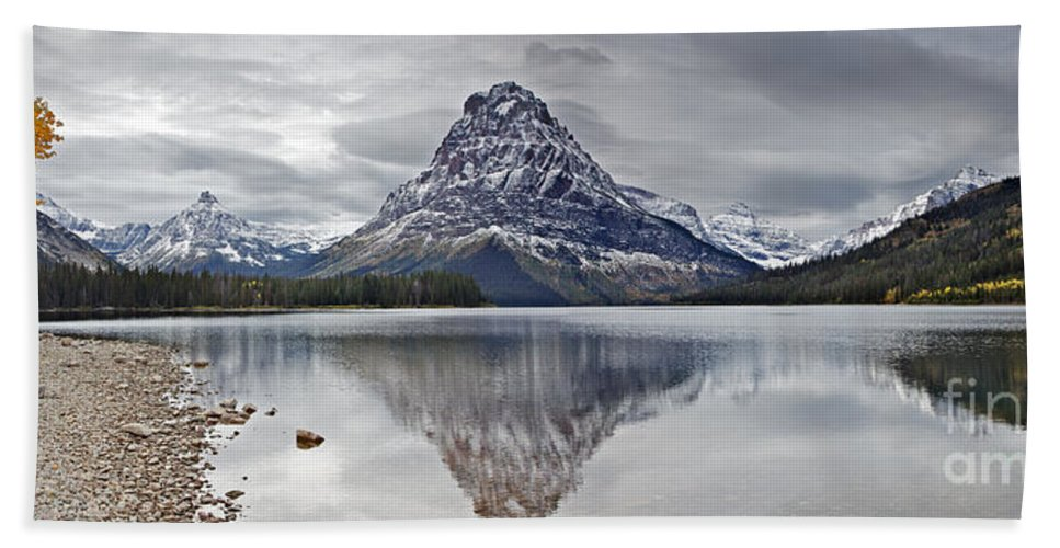 Autumn Bath Sheet featuring the photograph Autumn At Two Medicine Lake by Daryl L Hunter