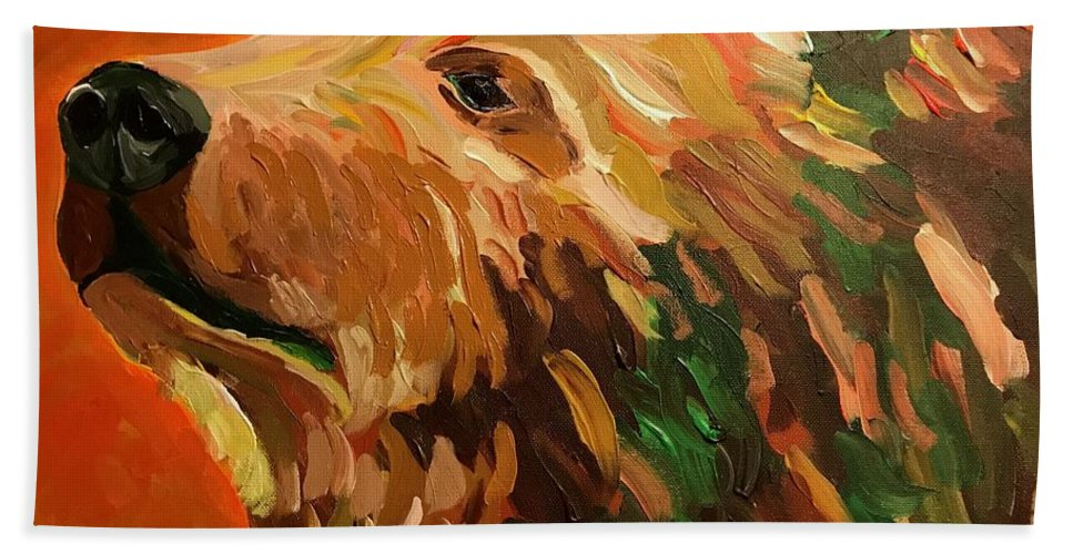 Bear Bath Sheet featuring the painting Autumn Bear by Kathi Schwan