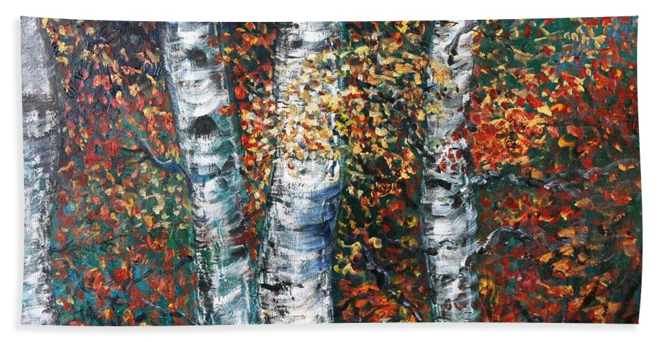 Birch Bath Towel featuring the painting Autumn Birch by Nadine Rippelmeyer