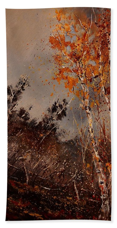 Tree Hand Towel featuring the painting Autumn Birches by Pol Ledent