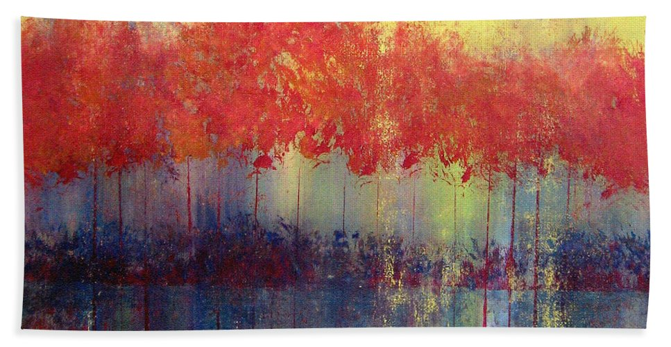 Abstract Hand Towel featuring the painting Autumn Bleed by Ruth Palmer