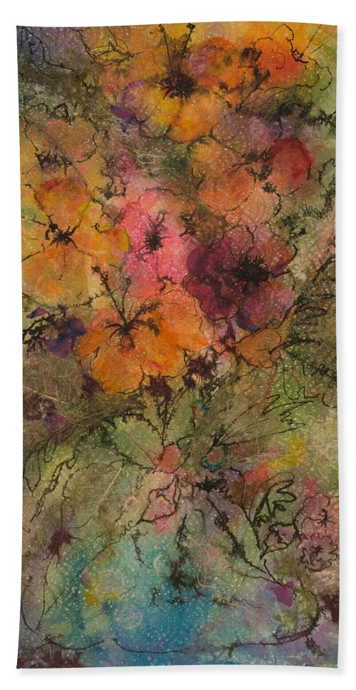 Floral Hand Towel featuring the painting Autumn Blooms by Barbara Colangelo