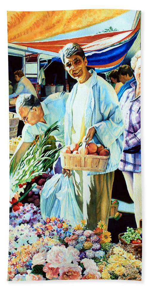 Cambridge Farmers Market Hand Towel featuring the painting Autumn Bounty by Hanne Lore Koehler