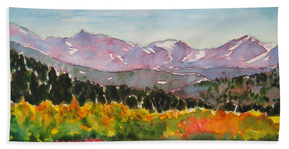Landscape Hand Towel featuring the painting Autumn Brilliance by Corynne Hilbert