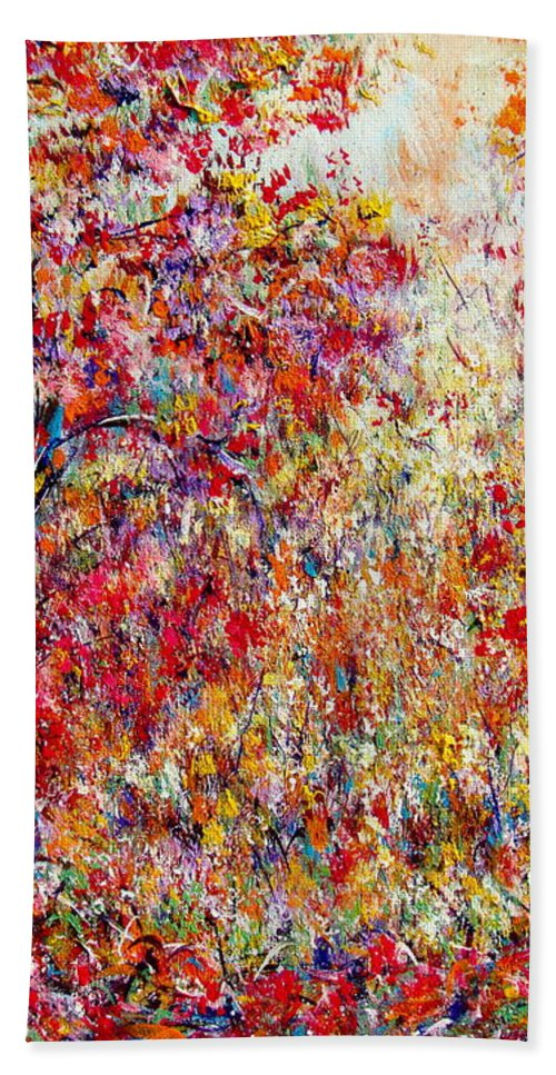 Nature Bath Sheet featuring the painting Autumn Brilliance by Natalie Holland