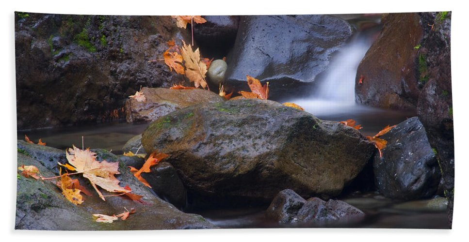 Fall Hand Towel featuring the photograph Autumn Cascades by Mike Dawson