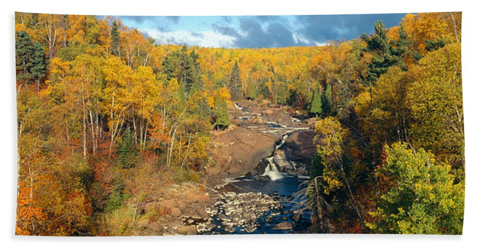 Photography Bath Sheet featuring the photograph Autumn Color Along Beaver River by Panoramic Images