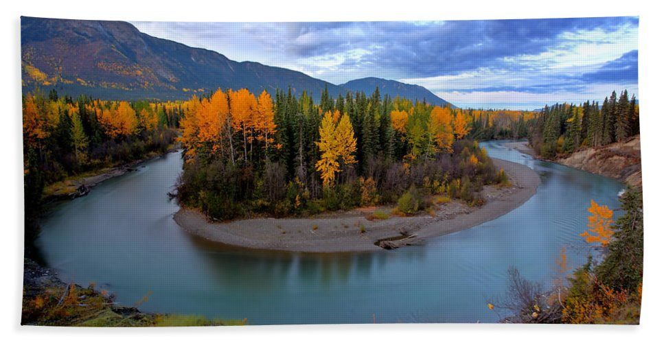 River Hand Towel featuring the digital art Autumn Colors Along Tanzilla River In Northern British Columbia by Mark Duffy