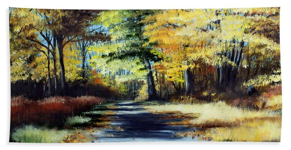 Landscape Bath Towel featuring the painting Autumn Colors by Paul Walsh