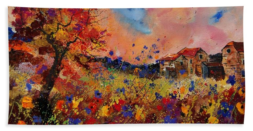 Poppies Bath Towel featuring the painting Autumn Colors by Pol Ledent