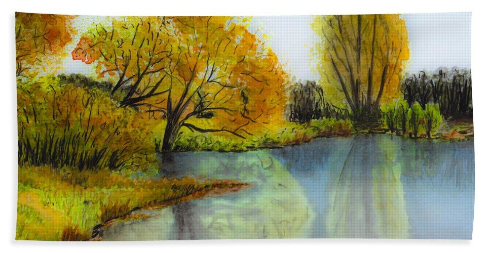 Abstract Hand Towel featuring the painting Autumn Colours by Svetlana Sewell